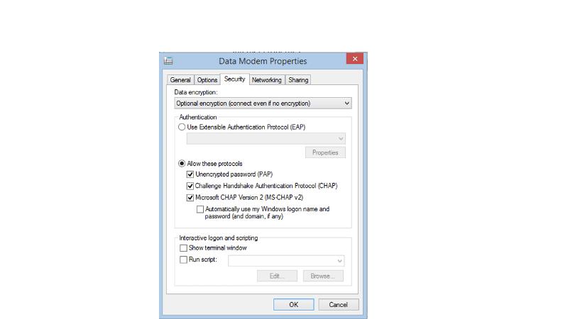 Modem Properites - Security
