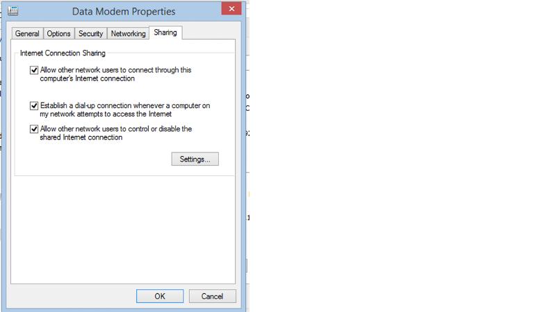 Data Modem Properties - Sharing