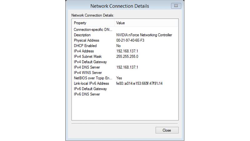 LAN Connection details