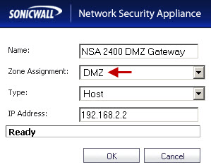DMZ Gateway on the NSA 2400