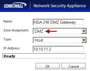 DMZ Gateway on the NSA 220