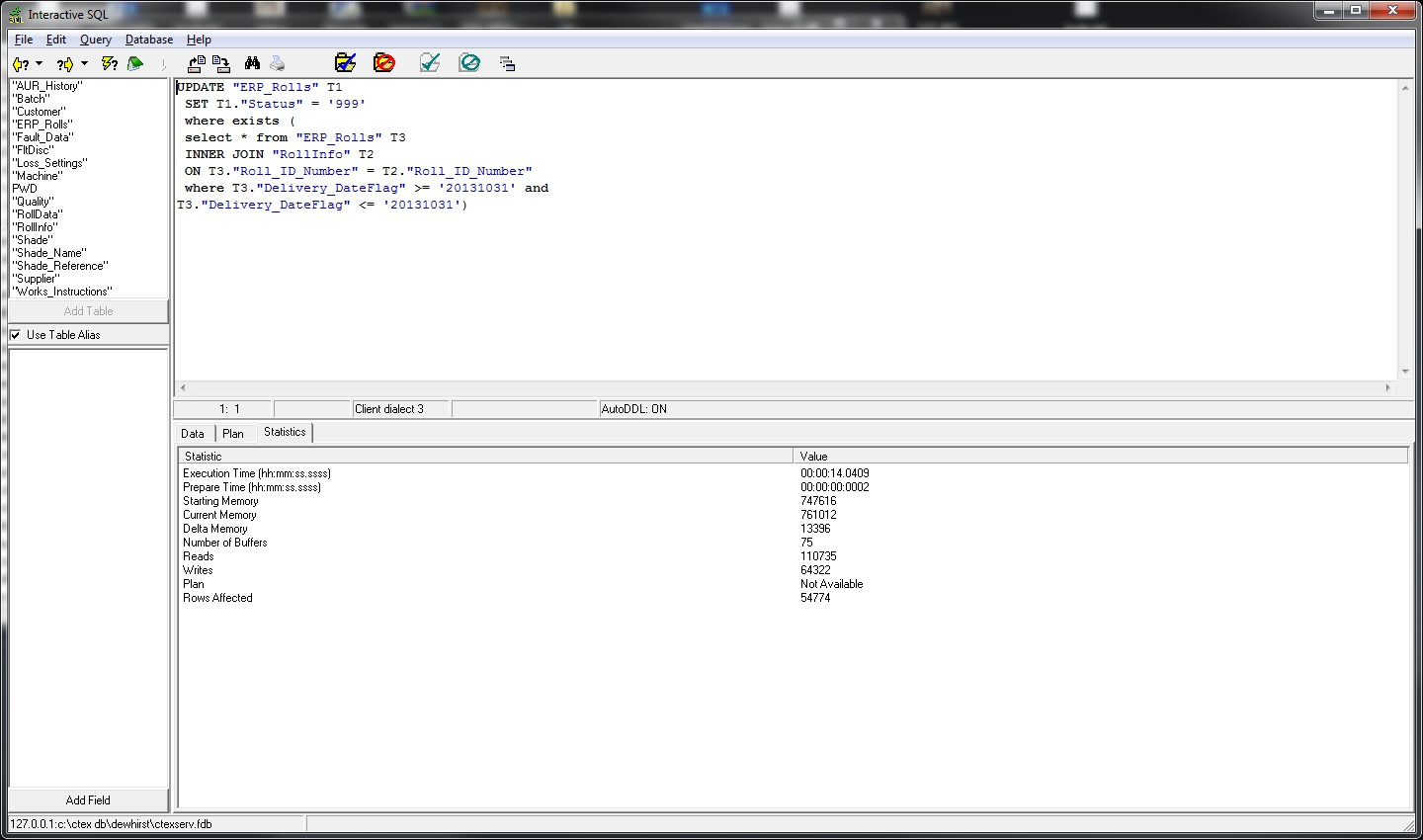Firebird SQL update with inner join