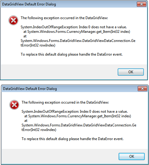 Error messages returned each time I run app, with Inability to close the form