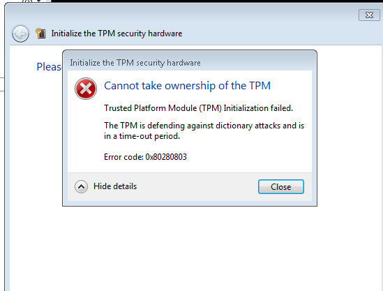 Bitlocker TPM Lockout