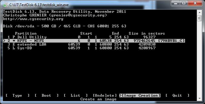 TestDisk - Create Image