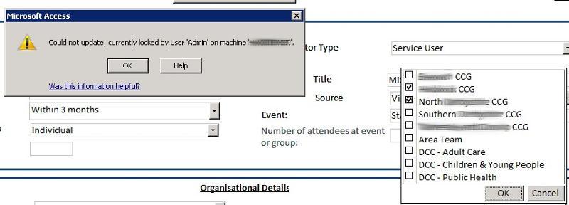 Database Error Screenshot
