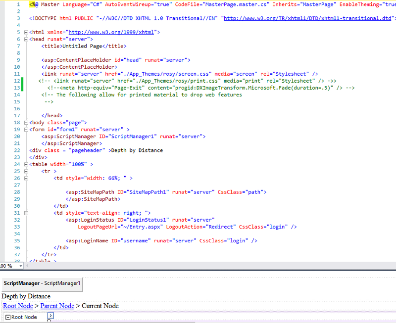code and design view