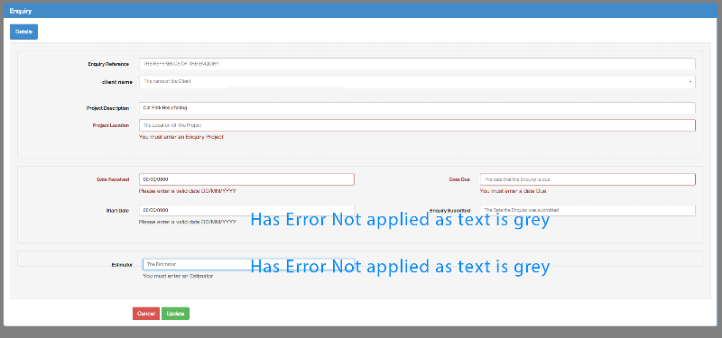 errors shown