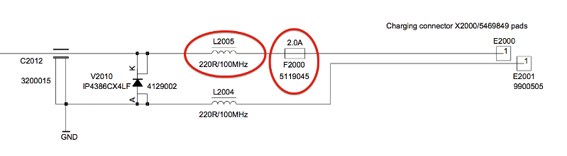 Component locations in the E72 schematic