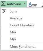 AutoSum drop-down Excel 2013