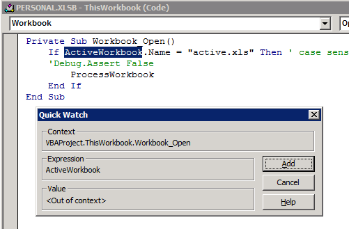 ActiveWorkbook ShiftF9