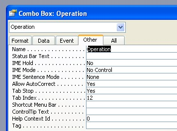 Operation Combo box name.