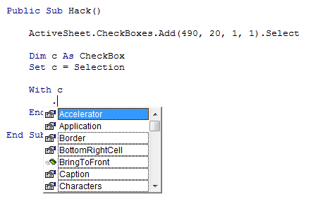 IntelliSense for CheckBox