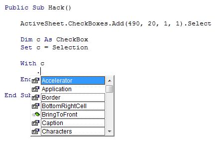 IntelliSense for CheckBox