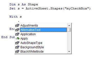 IntelliSense for Shape
