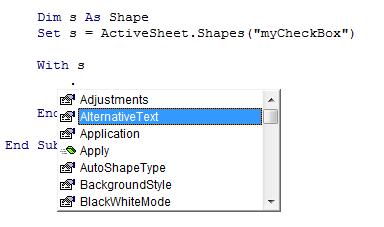 IntelliSense for Shape