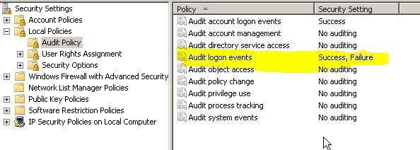 Audit logon policy is enable in Main DC.