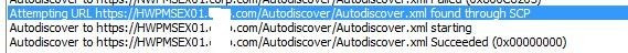 entry in autodiscover log