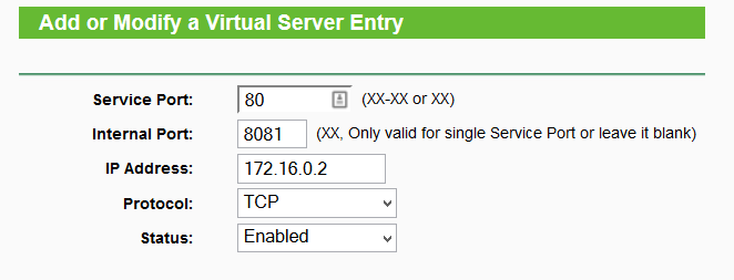 Example router setting