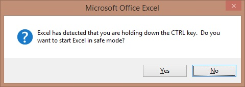 Excel has detected that you are holding down the CTRL key