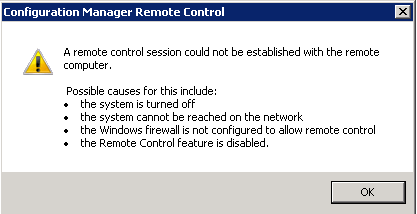SCCM Remote Access Error