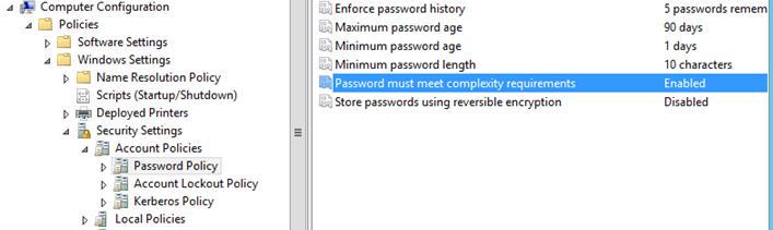 GPO Password settings