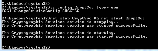 Command  used to separate CryptSvc from its shared SVChost.exe container