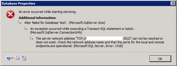 DB Mirror Issue