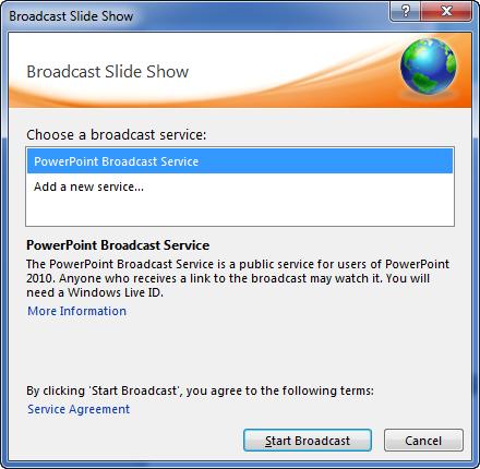 default broadcast service