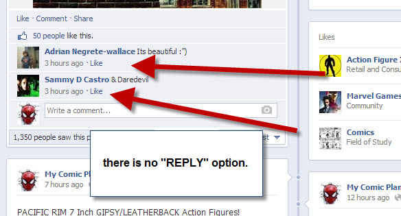 "Facebook Fan Page Missing ""Reply"""
