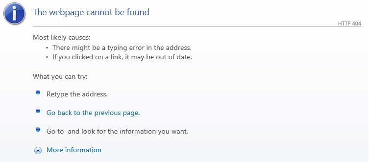 404 error while accessing the portal website from the link in a ticket e-mail.
