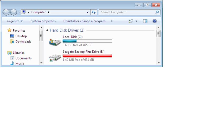 Backup Drive Status - Full