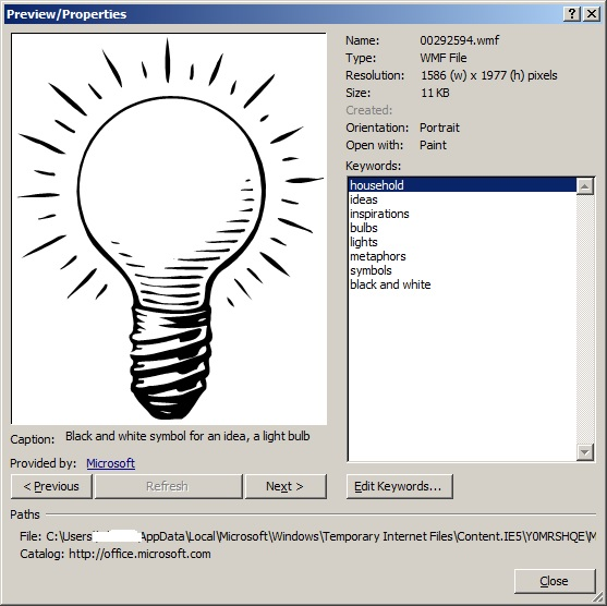 The clipart image's properties