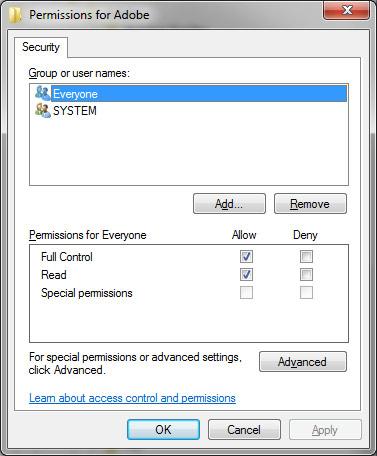 Adobe permissions