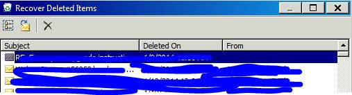 Recover Deleted items Outlook 2010