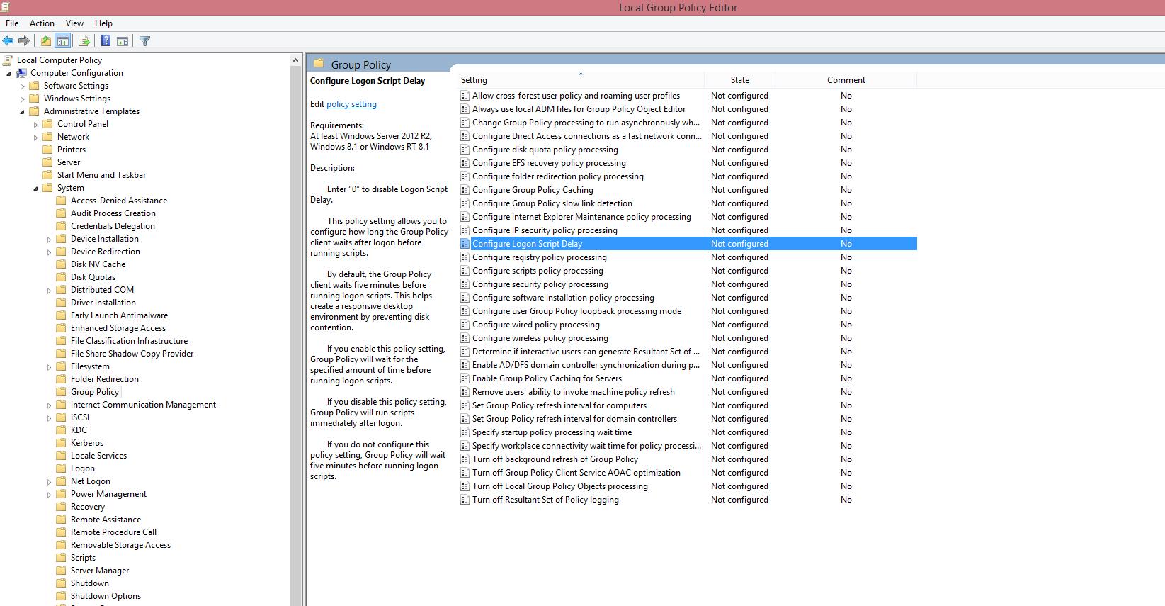 Cant Find Configure Logon Script Delay Gpo