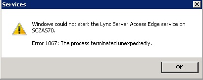 Picture of startup error message