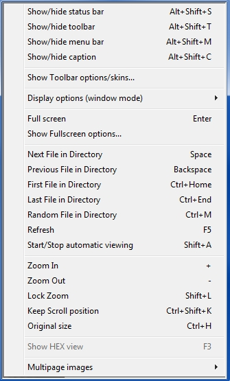 IrfanView View menu with all View options disabled