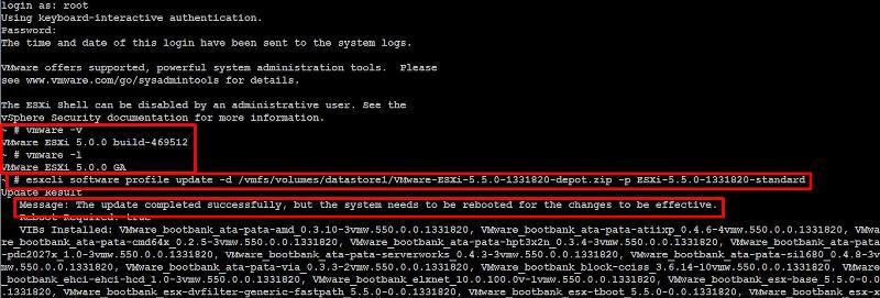 VMware ESXi 5.0 to 5.5 Update using esxcli