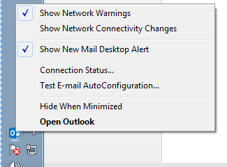 outlook  - rightclick with control for auto config