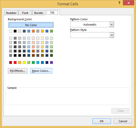 Select fill, more colors