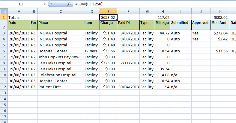 Example of totals and formula