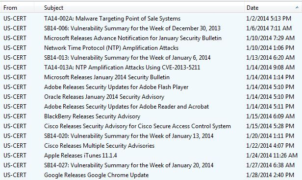 US-Cert alerts 2014-Jan