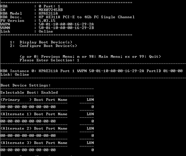 Qlogic bios cli screen shot.