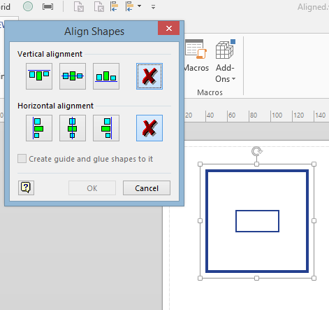 align shapes dialog