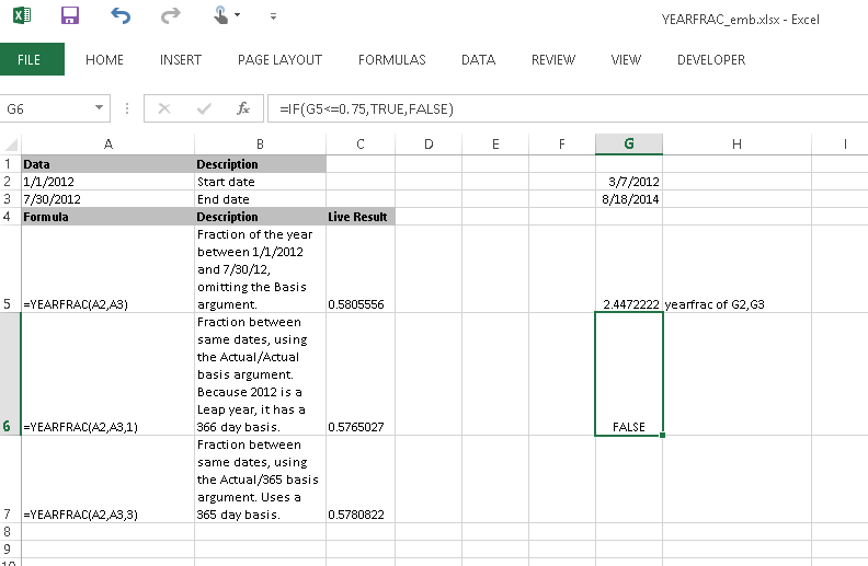 Excel screen grab of YEARFRAC1