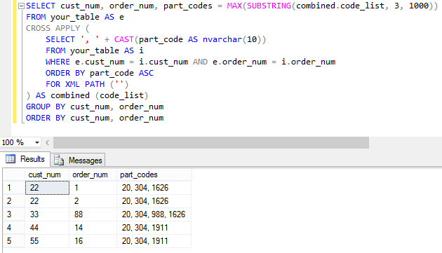 SQL query that directly aggregates orders