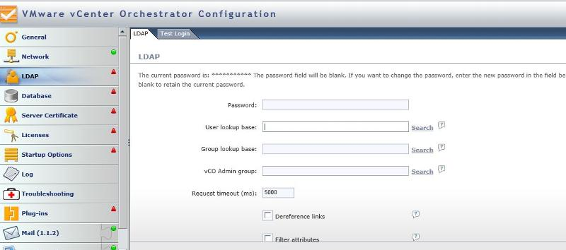 vCO_LDAP Confuration page