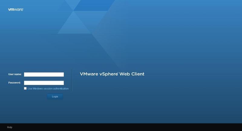 VMware vSphere Web Client login via web browser