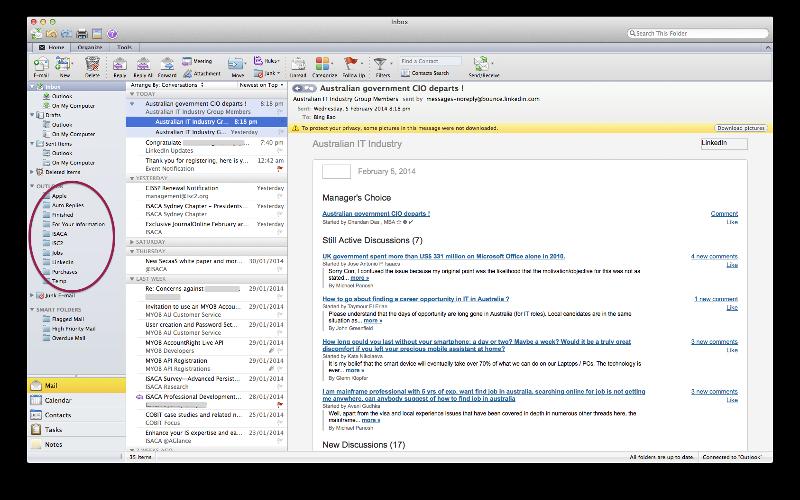 Desktop Interface of Outlook for Mac 2011